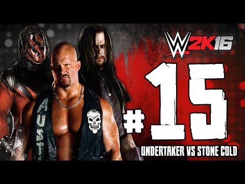 WWE2K16 ستيف اوستن و كين ضد اندرتيكر تختيم لعبة المصارعة 2016