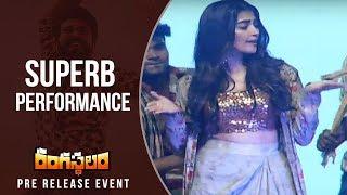 Actress Pooja Hegde Dance For Jigelu Rani Song @ Rangasthalam Pre Release Event