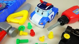 Fix Robocar Poli and TOBOT car toys and Kinder Joy Surprise eggs toys