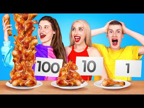 BIG VS MEDIUM VS SMALL FOOD CHALLENGE Last To Stop Wins Giant VS Tiny Food by 123 GO CHALLENGE