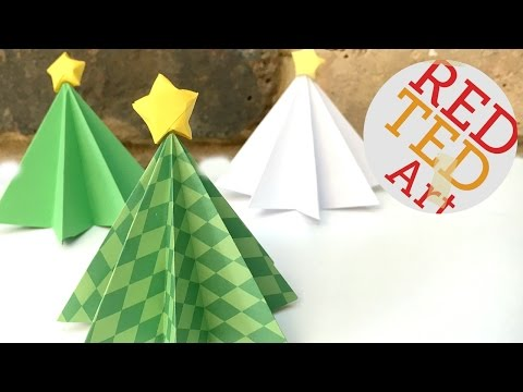 Origami Christmas Tree DIY - 3D Paper DIYs - Christmas Decor DIYs