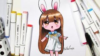 Como Desenhar Bonequinha Nerd Tumblr/Kawaii (passo a passo)