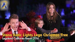 Actress Stana Katic lights the Lego Christmas Tree at Legoland California