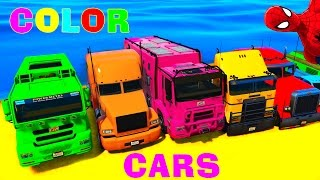Trucks and COLOR CARS for Kids in Spiderman Cartoon Funny Videos for Children and Nursery Rhymes