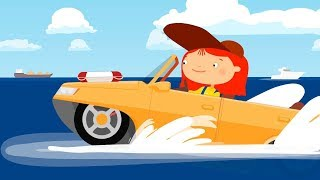 Doctor McWheelie & amphibious car. Car cartoon for kids.