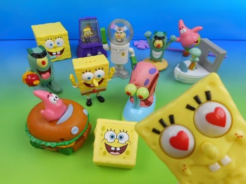 2004 SPONGEBOB SQUAREPANTS THE MOVIE SET OF 12 BURGER KING KID S MEAL TOY S VIDEO REVIEW