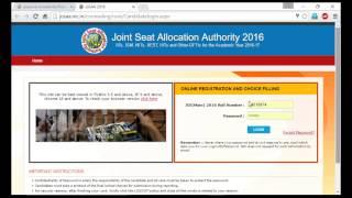 JEE JoSAA Choice filling Website walkthrough