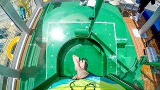 Norwegian Escape - Green AquaLoop   Trapdoor Waterslide on a Cruise Ship!