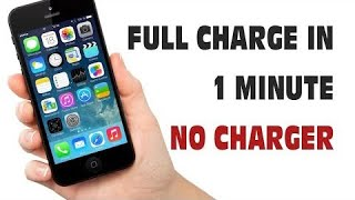 Charge your phone without a charger just in a minute