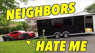 Unloading My 1200hp Straight Piped Drag Car In A Quiet Neighborhood (I'm Sorry)