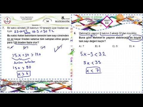 Eşitsizlikler -2 Zor Soru Çözümleri - Matematik - MEB Kazanım Test 34 - 8.Sınıf - LGS