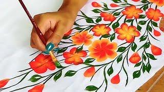 Free Hand Bel Painting Design on Kurtis / Sarees   Designer Kurti / Saree Border / Bel Design