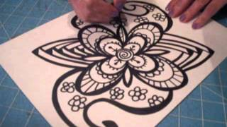 First Video of Zentangle ( Fast Forward.... )
