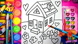 Coloring for Kids a House with Five Flowers Coloring Pages