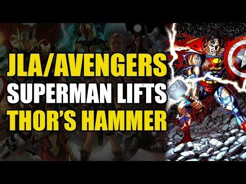 Superman Lifts Thor's Hammer (JLA/Avengers: Marvel vs DC Crossover)