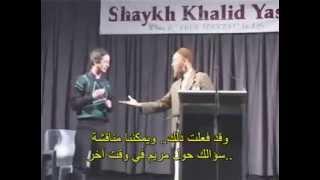 Virgin between Khalid Yasin and Christians debate with a Christian