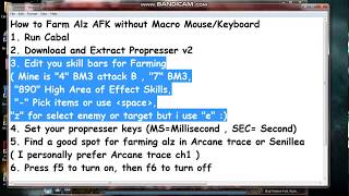 How To Farm Alz Without Macro Mouse/Keyboard