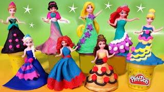 PLAY DOH Sparkle dresses 8 Disney Princess Magiclip dolls Elsa Anna Glitter Glider Ariel Rapunzel