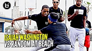 Jelly Fam Isaiah Washington 1 on 1 vs Random Fan at Venice Beach!!! JELLYFAM #BILAAG Weekend