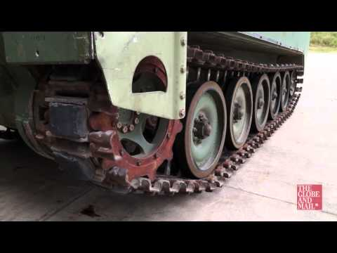 Watch a test drive of a retired M113 armoured personnel carrier