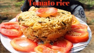 COOKING TOMATO RICE IN VILLAGE STYLE| TOMATO RICE BATH | HEALTHY VILLAGE FOOD