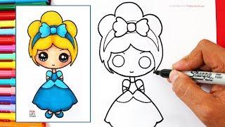 Cómo dibujar una PRINCESA Disney Kawaii (CENICIENTA) | How to Draw Cute Cinderella