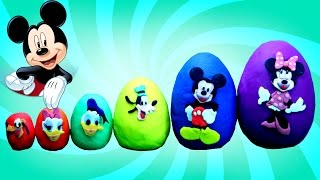 Smallest to Biggest MICKEY MOUSE and Friends Play Doh Eggs - Learn Sizes