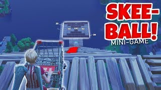 *NEW FORTNITE SHOPPING CART SKEE-BALL MINI GAME!! (WORLD