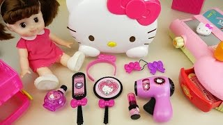 Hello Kitty hair shop mart register and baby doll toys play