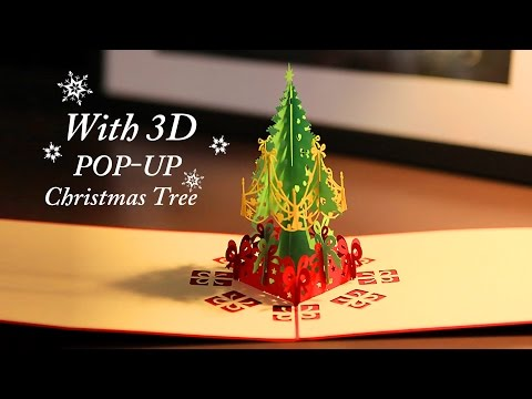 Christmas Greeting Card with 3D Pop-up Christmas Tree