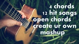4 open chords 12 Hit Songs GUITAR SIMPLE ACOUSTIC LESSONS BOLLYWOOD MASHUP