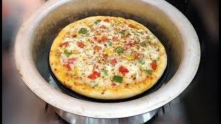 Fajita Pizza Without Oven - Thick Crust Fajita Pizza Recipe in Vessel