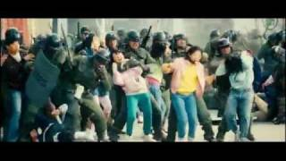 girls against riot police (fight scene from