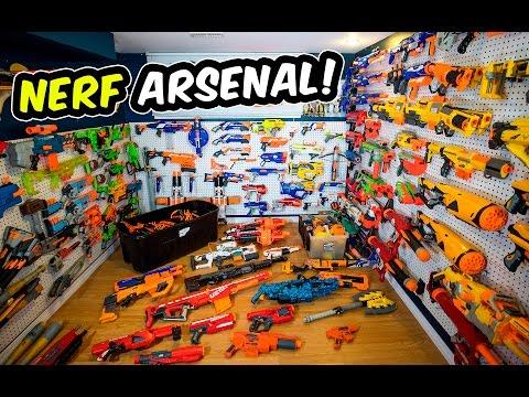 WAY TOO MANY NERF GUNS Nerf Arsenal Update Over 175 Blasters