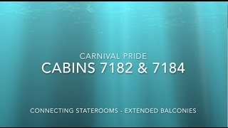 Carnival Pride Stateroom Tour 7182 & 7184 Connecting Staterooms Extended Balconies