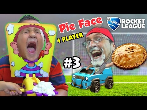 PIE FACE CHALLENGE GAME w Let s Play ROCKET LEAGUE Part 3 BOTS FGTEEV Family Fun