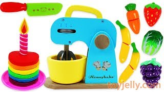 Toy Mixer Playset Make a Play Doh Birthday Cake & Learn Fruits with Wooden Velcro Baby Toys for Kids