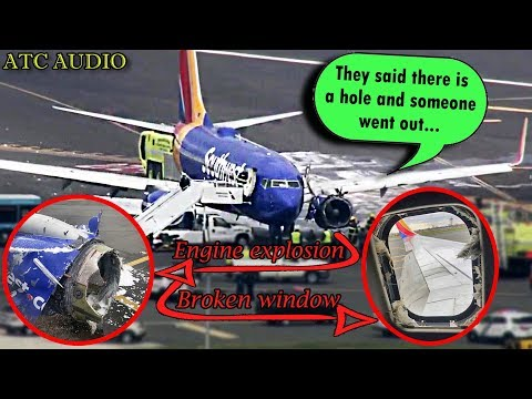 WN1380 Southwest Engine Explodes in midair and a Window Breaks