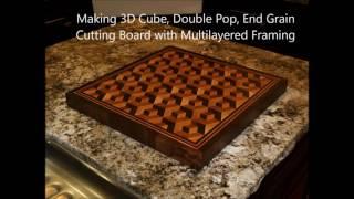 Kerajinan kayu tutorial 3d cube,double pop,and grain cutting board with multilayered framing
