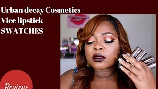 Urban Decay Cosmetics Vice Lipstick Swatches on Dark Skin| #thepaintedlipsproject
