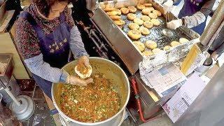 Filling and Frying 'Hotteok' Pancakes. Korea Street Food in Namdaemun, Seoul
