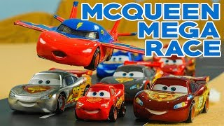 Who is the REAL McQueen? Lightning McQueen Mega Race Disney Cars fly and race