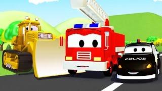 Mobil patroli: Truk Pemadam Kebakaran dan Mobil Polisi dan Buldozer di Kota Mobil