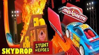 MAJORETTE STUNT HEROES Sky Drop, Turm mit Abschussvorrichtung inklusive Auto, Unboxing Spielzeug