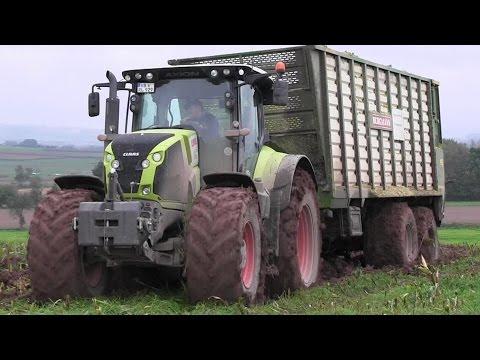 Claas Jaguar 940 & Fendt,Claas,John Deere Traktoren Maishäckseln im Schlamm [HD]