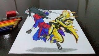 Desenhando Naruto vs Madara em 3D (Drawing Naruto x Madara in 3D)