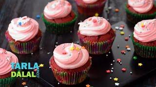 Red Velvet Cupcake, Eggless Red Velvet Cupcake by Tarla Dalal