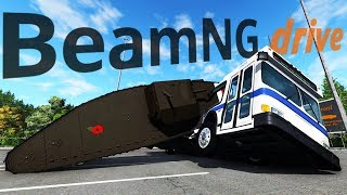 Crushing Vehicles With A GIANT WWI Mark IV Tank - BeamNG Drive Mods Gameplay