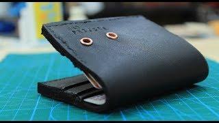DIY making leather wallet - using faux leather صنع محفظة نقود من الجلد