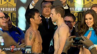 WE HAVE A FIGHT! Manny Pacquiao vs. Jeff Horn FULL WEIGH IN & FACE OFF VIDEO